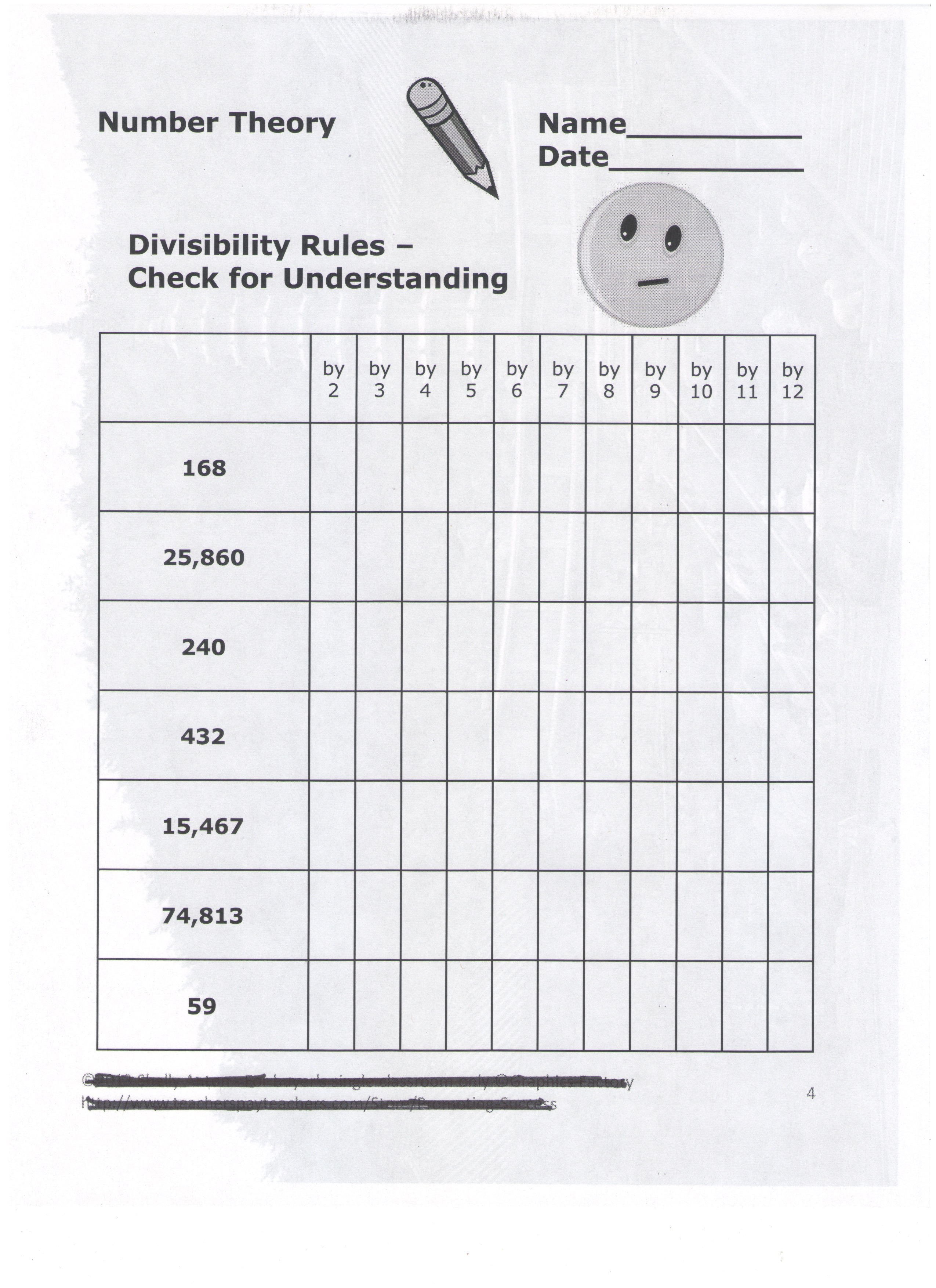 Divisibility worksheets 6th grade
